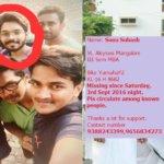 (CLOSED) Sonu Subash Chandran missing from Mangalore