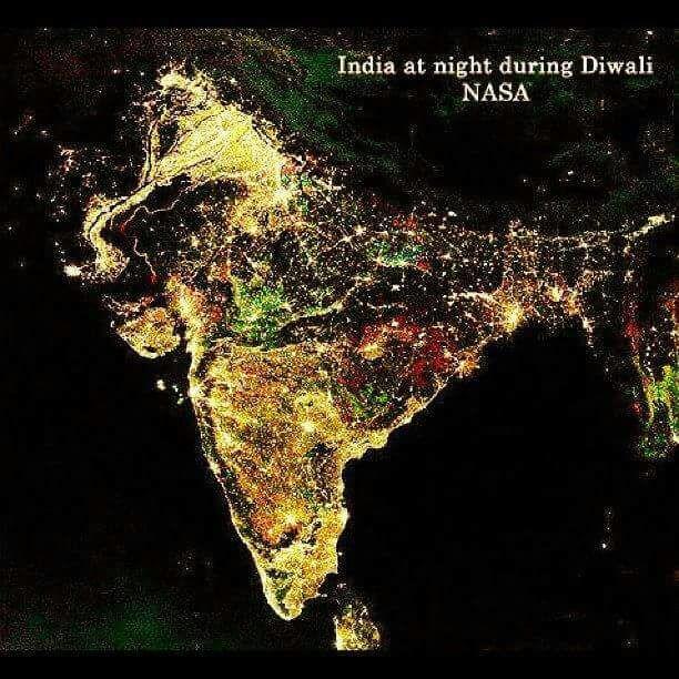 India at night during diwali nasa
