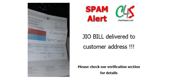 (SPAM) JIO Bill delivered at customer address in Aadhaar Card