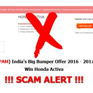 (SPAM) India's Big Bumper Offer 2016 – 2017 Win Honda Activa