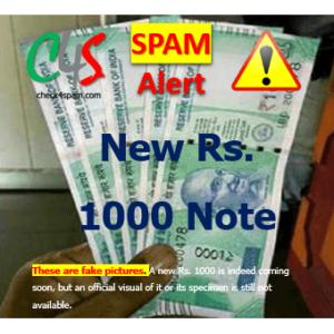 (SPAM) New Rupees 1000 Note Specimen