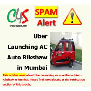 Uber Launching AC Auto Rikshaw Mumbai hoax