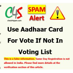 Aadhaar card for voting if not in voting list hoax