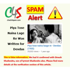 (SPAM) Piya Tose Naina Lage Re Was Written for Devdas