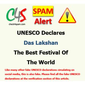 UNESCO Declares Das Lakshan Best Festival hoax