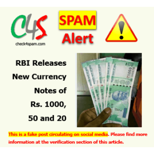(SPAM) RBI Releases New Currency Notes of Rs. 1000, 50 and 20