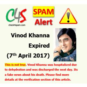 Vinod Khanna expired hoax