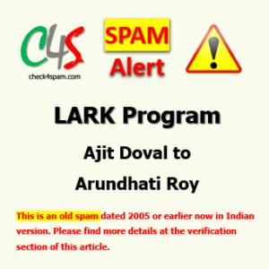 lark program ajit doval reply arundhati roy spam
