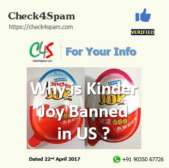 kinder joy banned US