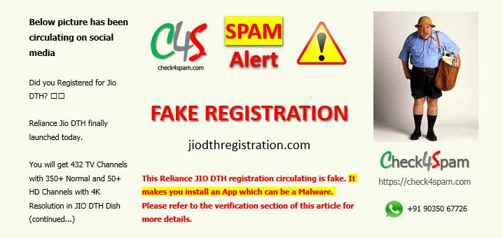 JIO DTH registration spam