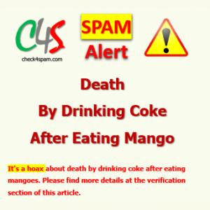 death drinking coke eating mango spam