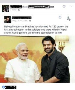 bahubali hero prabhas donates 120 crores spam