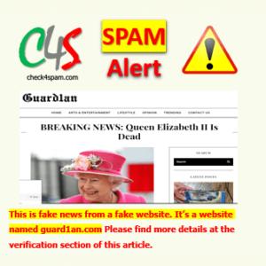 Queen Elizabeth II dead spam