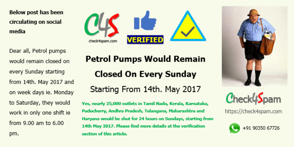 petrol pumps closed Sundays from 14th May 2017