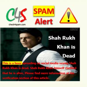 Shah Rukh Khan Dead hoax
