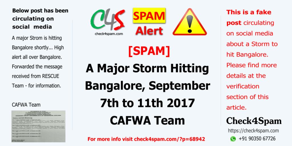 A Major Storm Hitting Bangalore CAFWA Team - SPAM