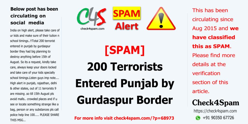 200 Terrorists Entered Punjab by Gurdaspur Border - SPAM