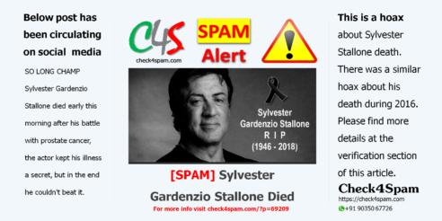 Sylvester Gardenzio Stallone Died Spam