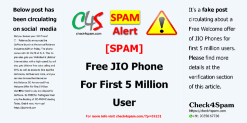[SPAM] Free JIO Phone For First 5 Million User
