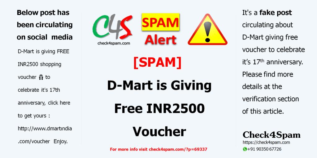 D-Mart Free INR2500 Voucher