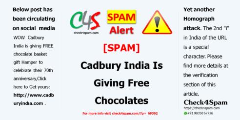 Cadbury India Is Giving Free Chocolates - spam